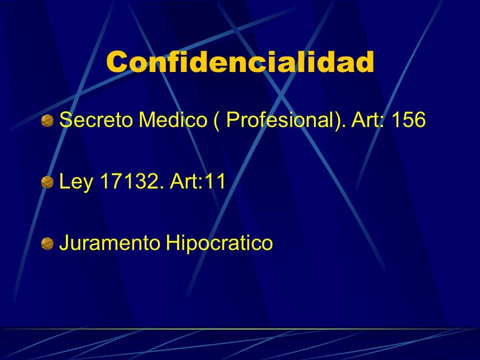 Confidencialidad Secreto Medico ( Profesional). Art: 156