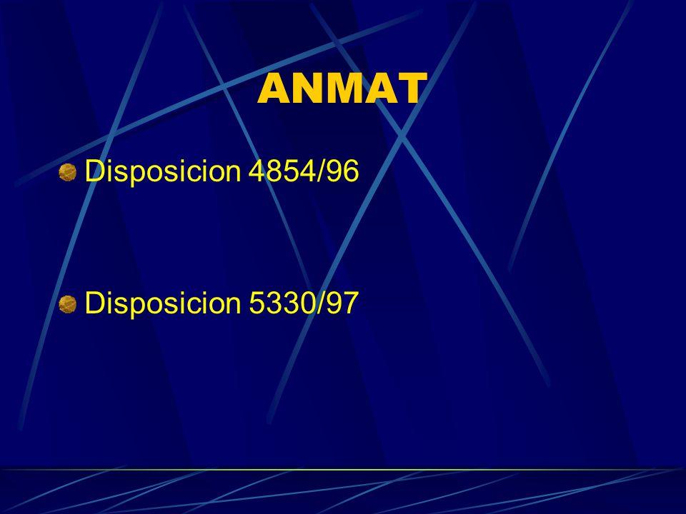 ANMAT Disposicion 4854/96 Disposicion 5330/97