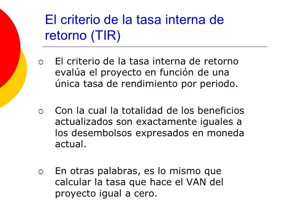 El criterio de la tasa interna de retorno (TIR)