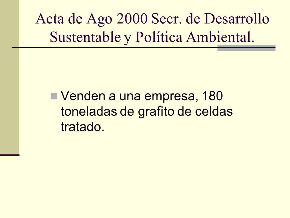 Acta de Ago 2000 Secr. de Desarrollo Sustentable y Política Ambiental.