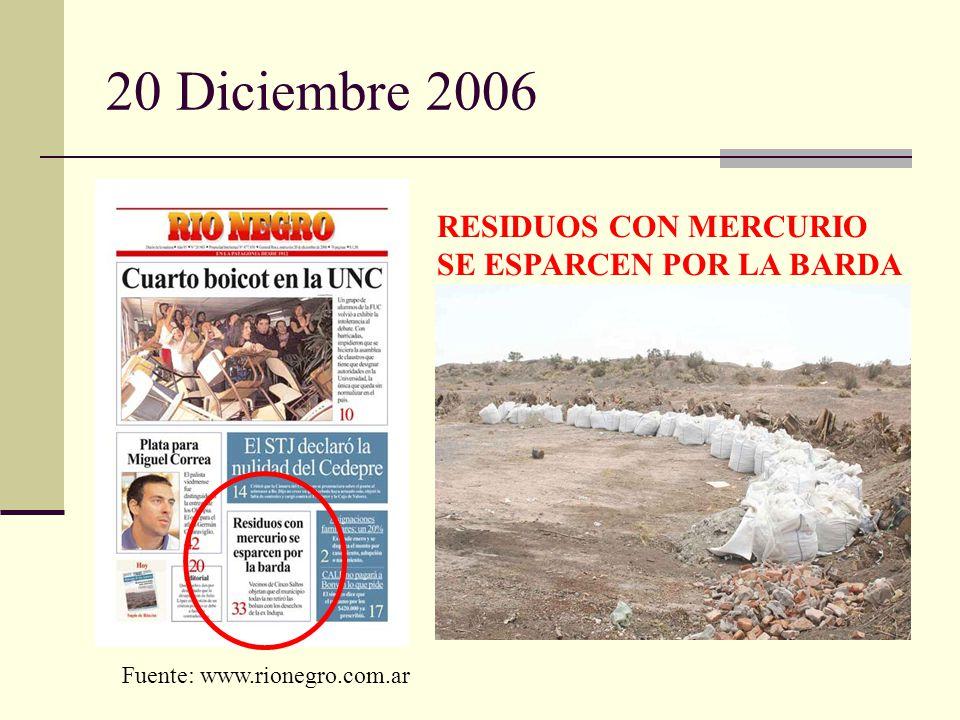 20 Diciembre 2006 RESIDUOS CON MERCURIO SE ESPARCEN POR LA BARDA