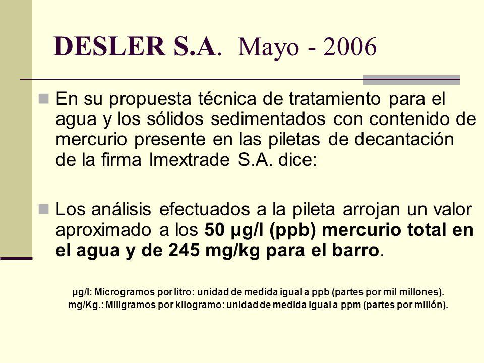 DESLER S.A. Mayo - 2006
