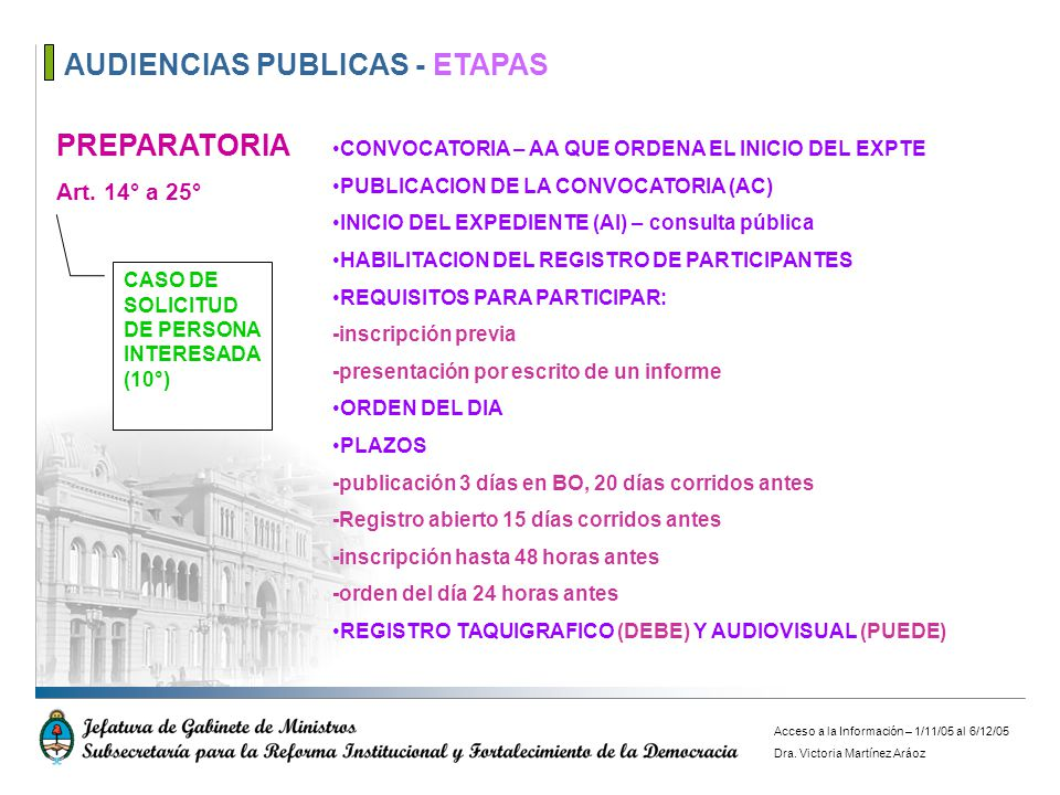 AUDIENCIAS PUBLICAS - ETAPAS