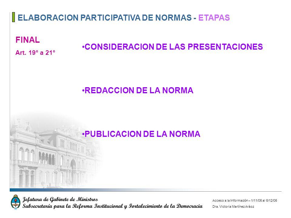 ELABORACION PARTICIPATIVA DE NORMAS - ETAPAS