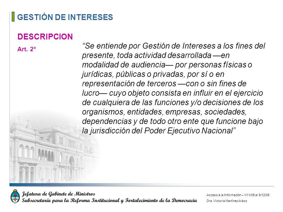 GESTIÓN DE INTERESES DESCRIPCION