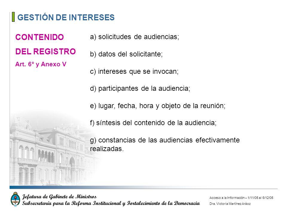 GESTIÓN DE INTERESES CONTENIDO DEL REGISTRO