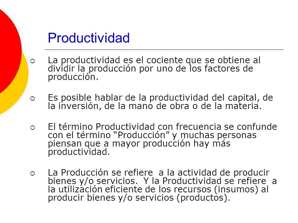 ProductividadLa productividad es el cociente que se obtiene al dividir la producción por uno de los factores de producción.