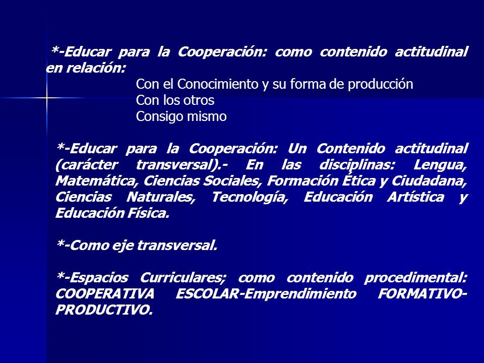 *-Educar para la Cooperación: como contenido actitudinal en relación: