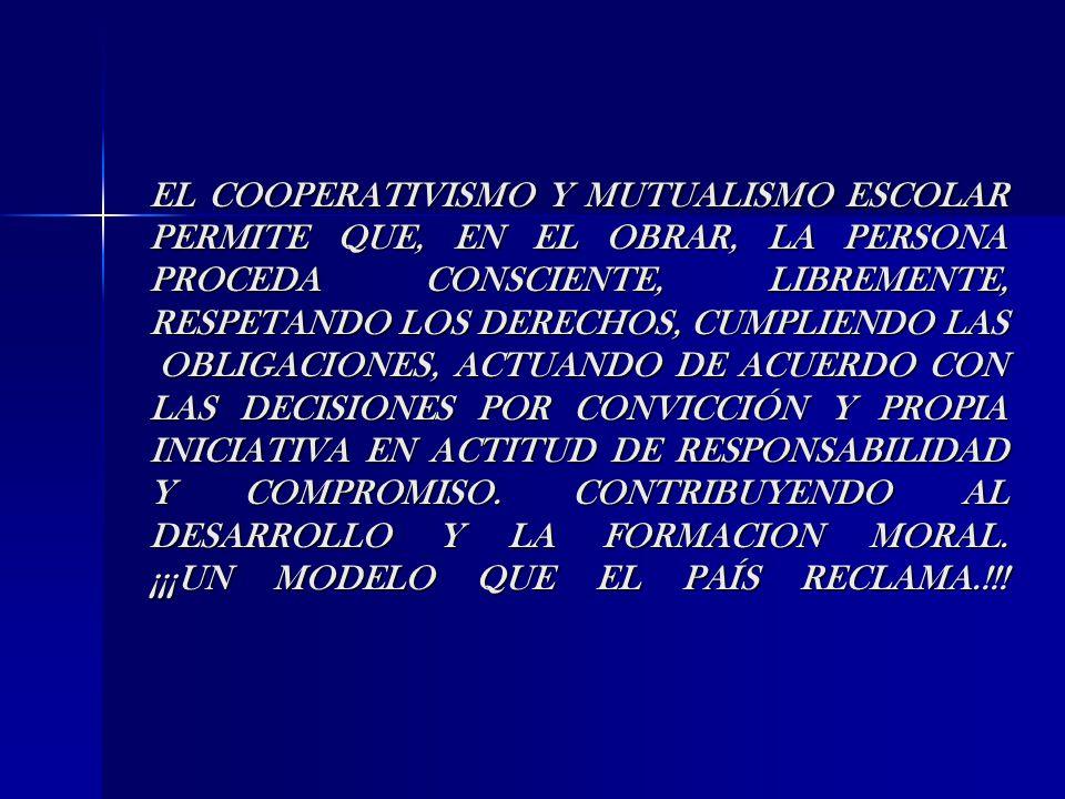 EL COOPERATIVISMO Y MUTUALISMO ESCOLAR PERMITE QUE, EN EL OBRAR, LA PERSONA PROCEDA CONSCIENTE, LIBREMENTE, RESPETANDO LOS DERECHOS, CUMPLIENDO LAS OBLIGACIONES, ACTUANDO DE ACUERDO CON LAS DECISIONES POR CONVICCIÓN Y PROPIA INICIATIVA EN ACTITUD DE RESPONSABILIDAD Y COMPROMISO.