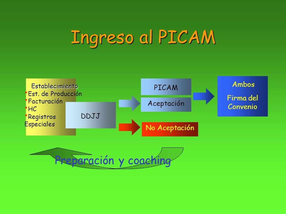 Ingreso al PICAM Preparación y coaching Ambos PICAM Firma del Convenio