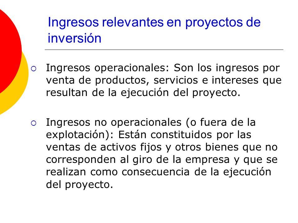 Ingresos relevantes en proyectos de inversión