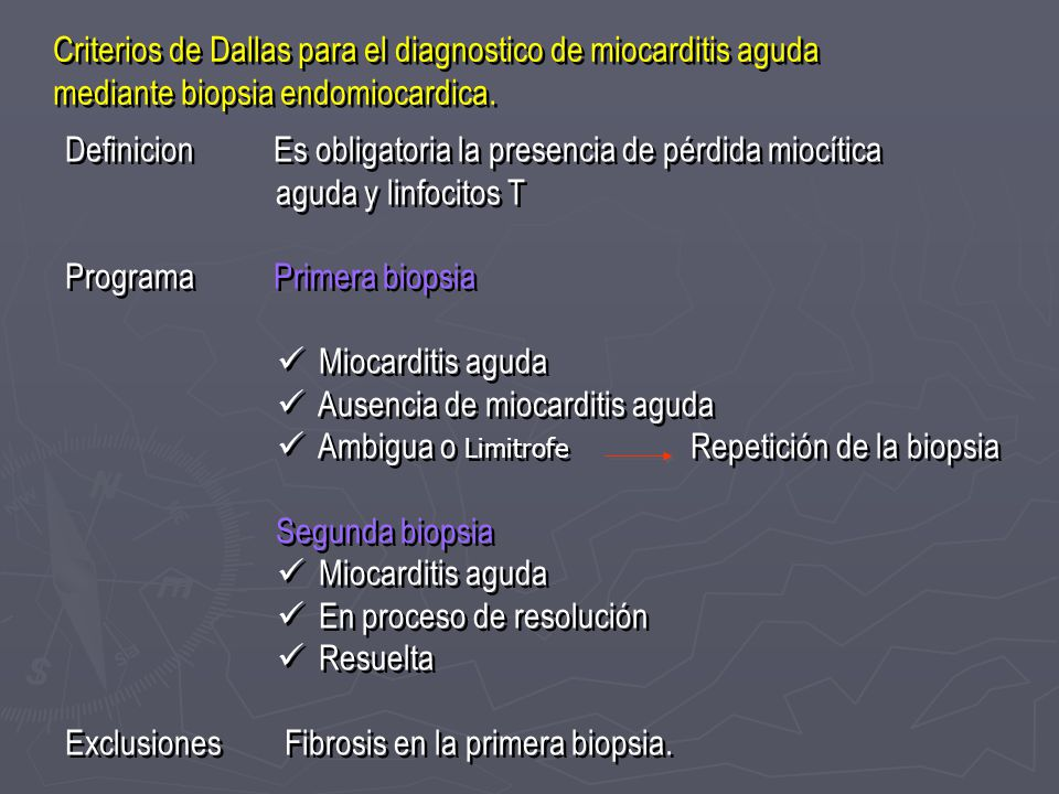 Criterios de Dallas para el diagnostico de miocarditis aguda