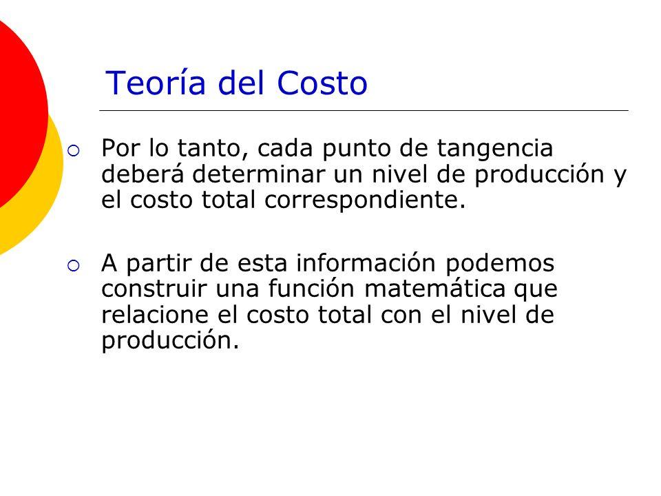Teoría del Costo Por lo tanto, cada punto de tangencia deberá determinar un nivel de producción y el costo total correspondiente.
