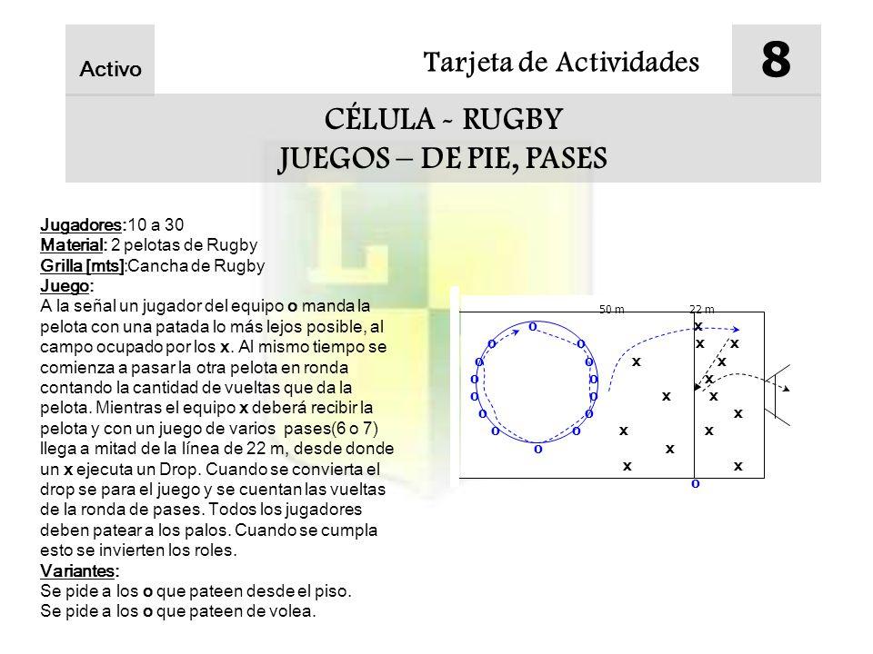 8 CÉLULA - RUGBY JUEGOS – DE PIE, PASES Tarjeta de Actividades Activo