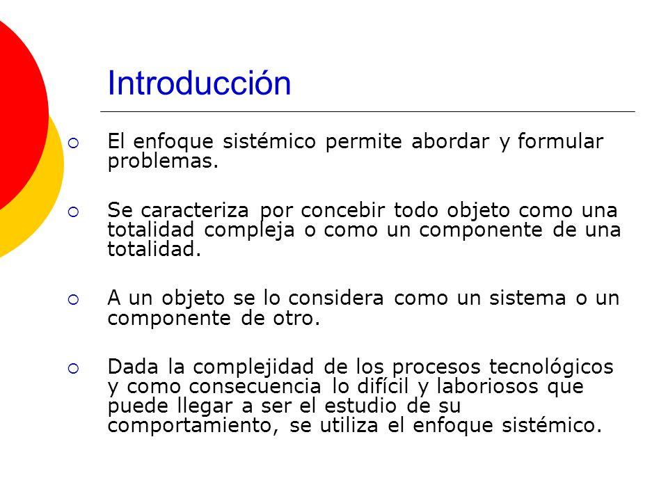 Introducción El enfoque sistémico permite abordar y formular problemas.