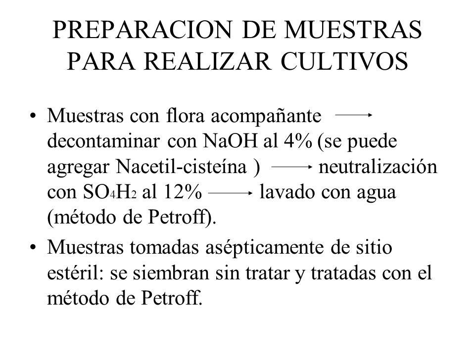 PREPARACION DE MUESTRAS PARA REALIZAR CULTIVOS