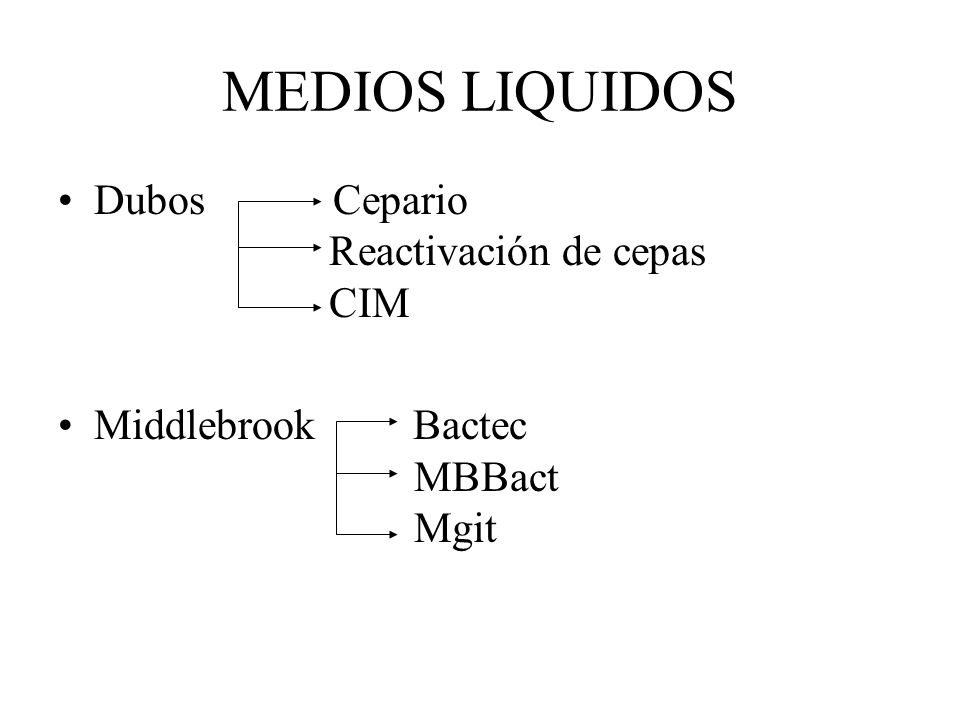 MEDIOS LIQUIDOS Dubos Cepario Reactivación de cepas CIM