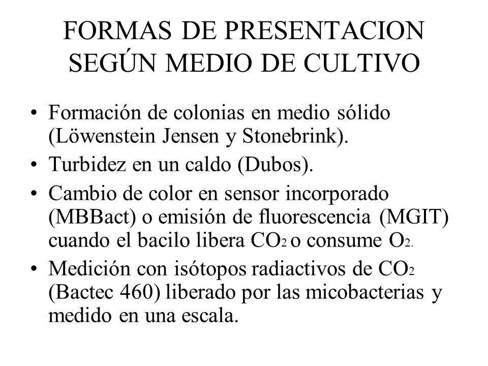 FORMAS DE PRESENTACION SEGÚN MEDIO DE CULTIVO