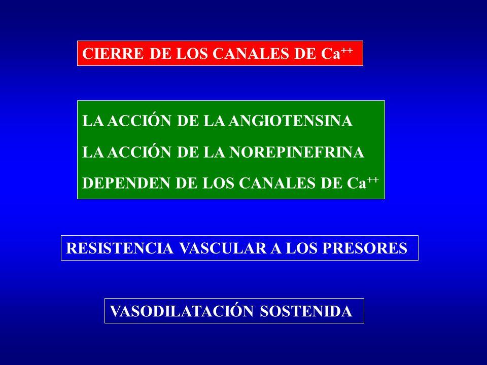 CIERRE DE LOS CANALES DE Ca++