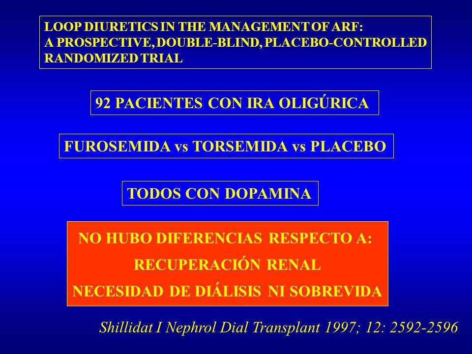 NO HUBO DIFERENCIAS RESPECTO A: NECESIDAD DE DIÁLISIS NI SOBREVIDA