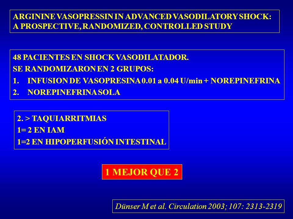 1 MEJOR QUE 2 ARGININE VASOPRESSIN IN ADVANCED VASODILATORY SHOCK: