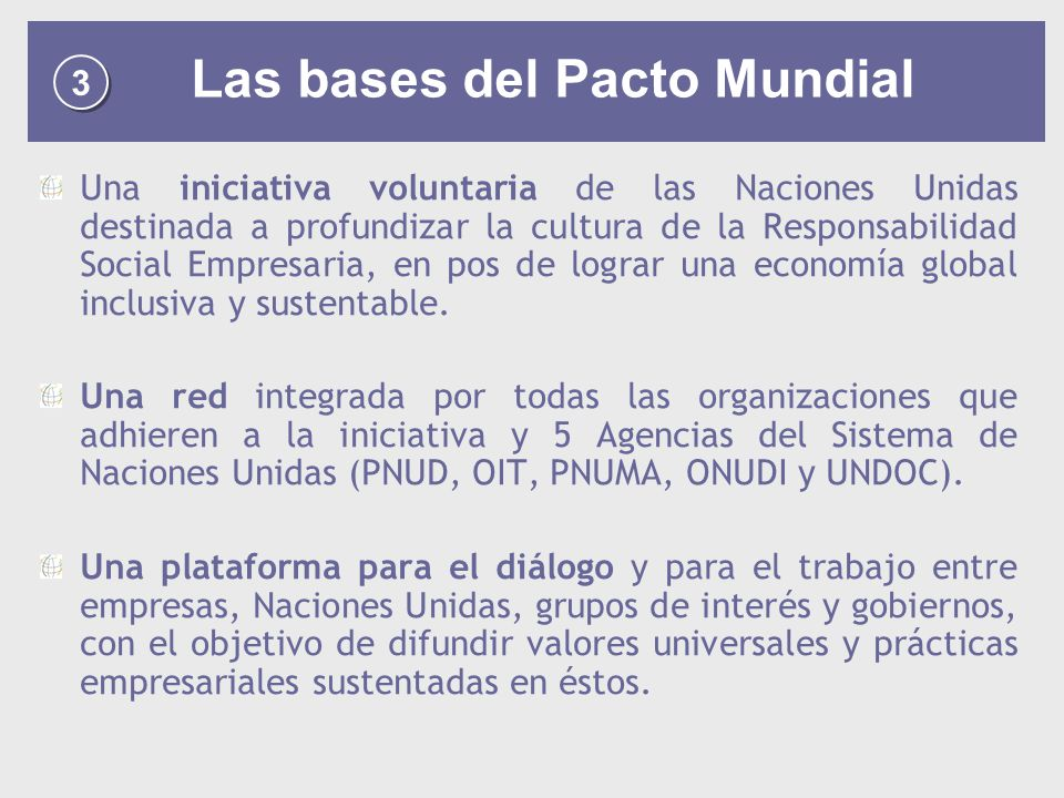 Las bases del Pacto Mundial