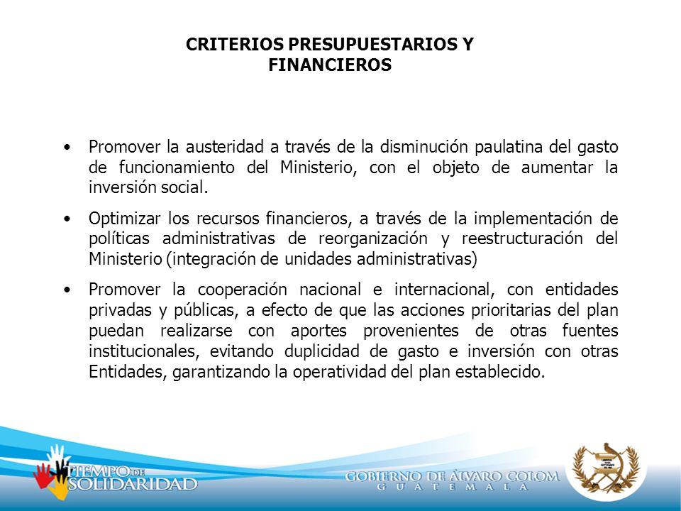 CRITERIOS PRESUPUESTARIOS Y FINANCIEROS