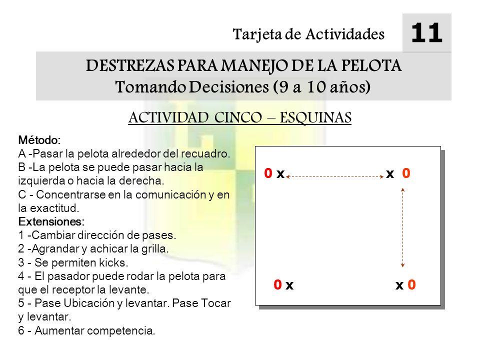 DESTREZAS PARA MANEJO DE LA PELOTA Tomando Decisiones (9 a 10 años)