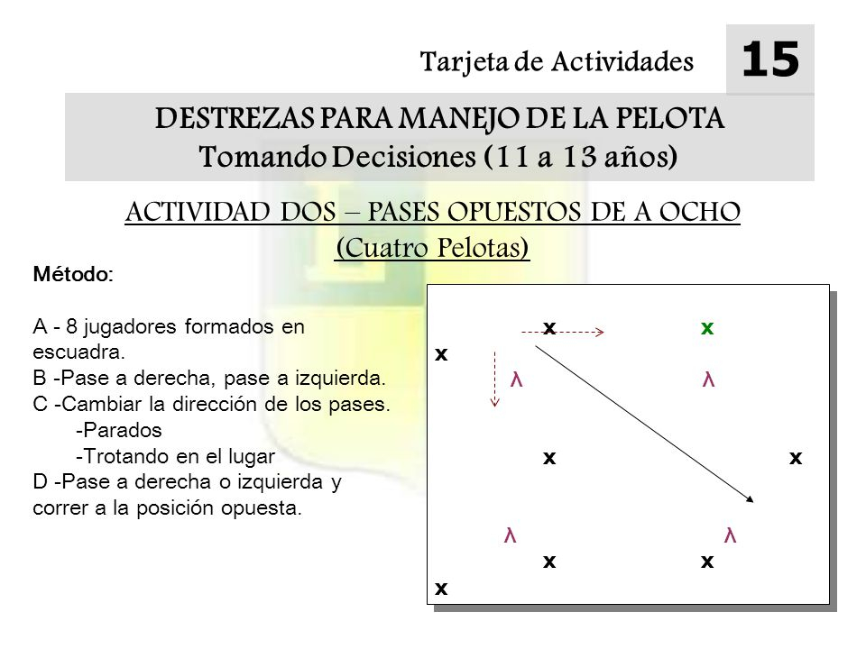 DESTREZAS PARA MANEJO DE LA PELOTA Tomando Decisiones (11 a 13 años)
