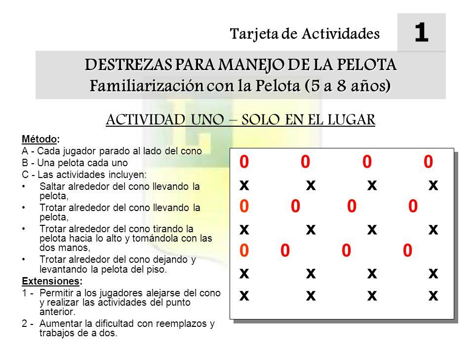 1 0 0 0 0 x x x x 0 0 0 0 0 0 0 0 DESTREZAS PARA MANEJO DE LA PELOTA