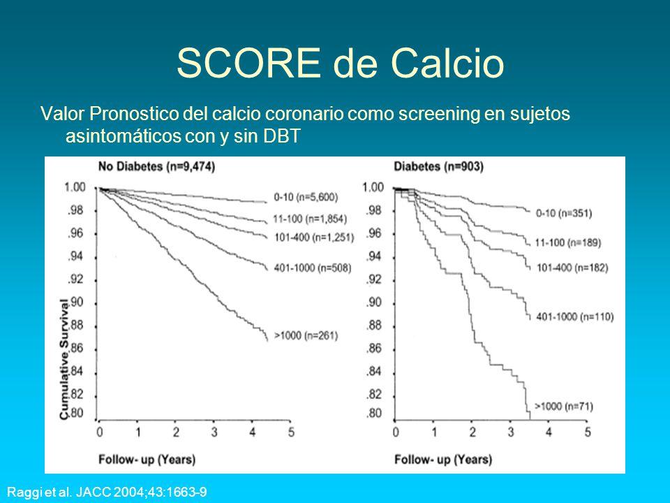 SCORE de Calcio Valor Pronostico del calcio coronario como screening en sujetos asintomáticos con y sin DBT.