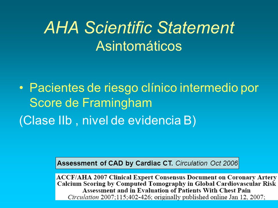 AHA Scientific Statement Asintomáticos