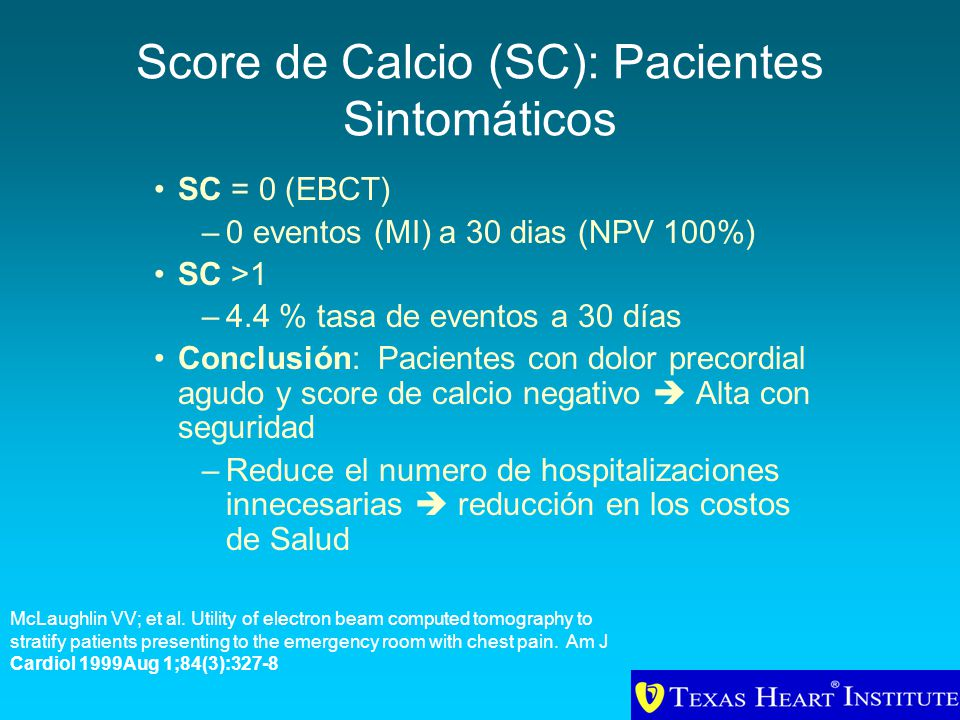 Score de Calcio (SC): Pacientes Sintomáticos