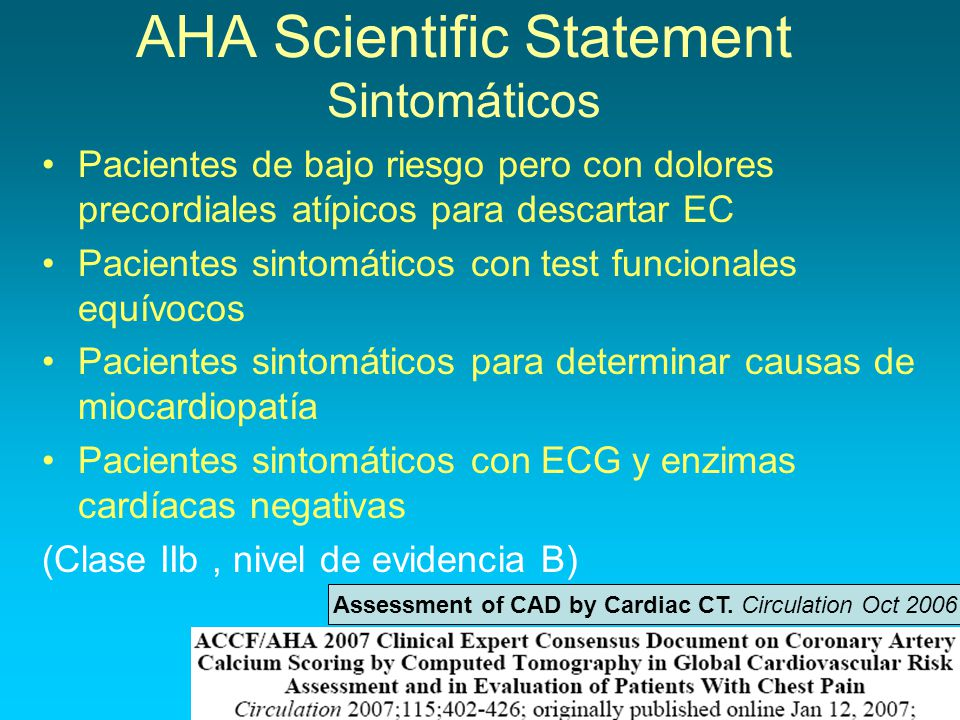 AHA Scientific Statement Sintomáticos