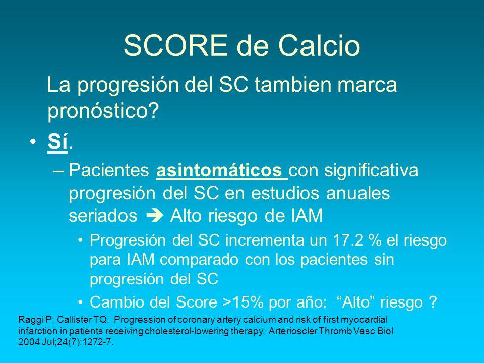 SCORE de Calcio La progresión del SC tambien marca pronóstico Sí.