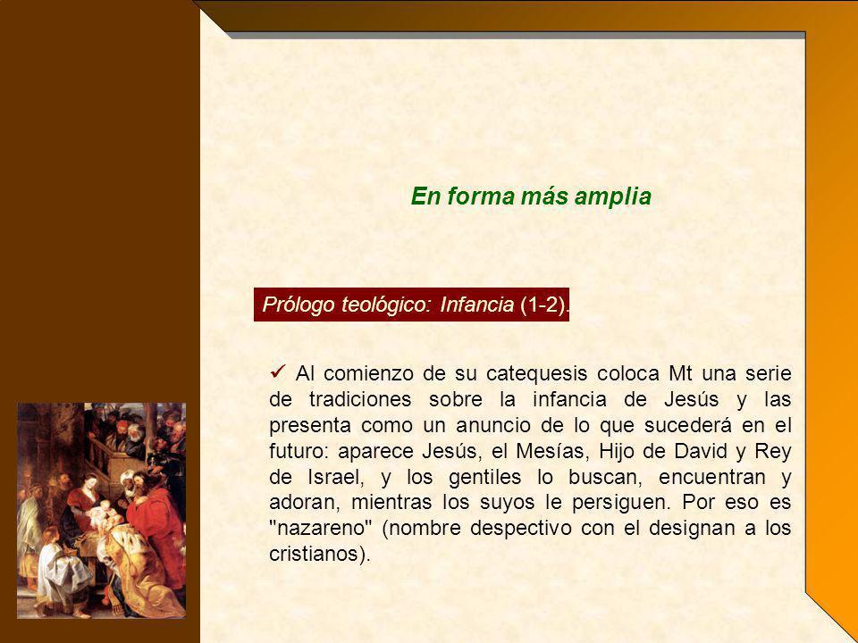 En forma más amplia Prólogo teológico: Infancia (1-2).