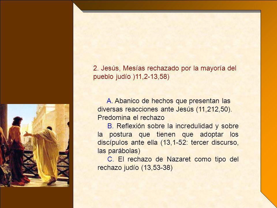 2. Jesús, Mesías rechazado por la mayoría del pueblo judío )11,2-13,58)