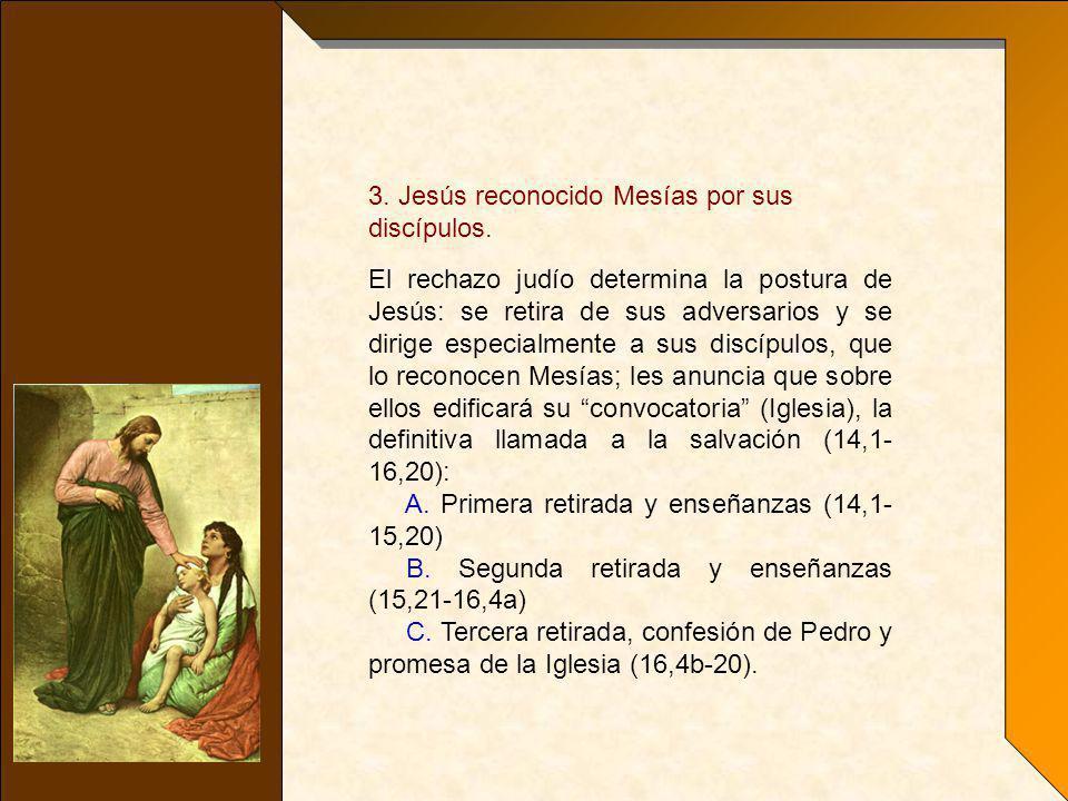 3. Jesús reconocido Mesías por sus discípulos.
