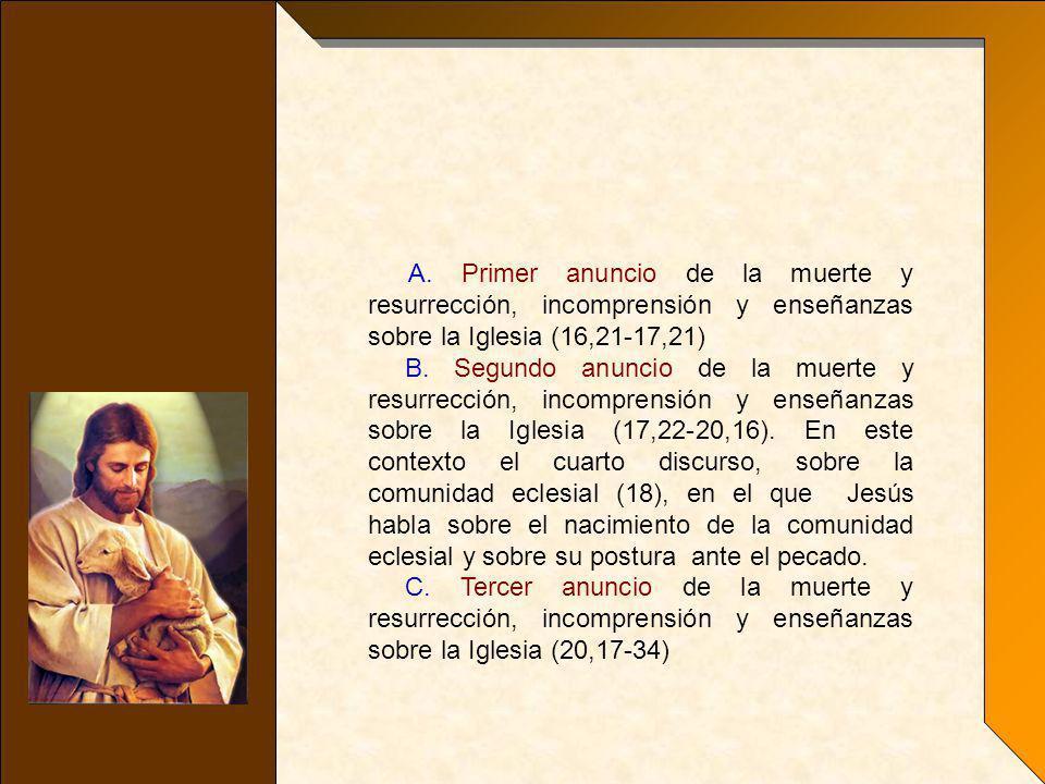 A. Primer anuncio de la muerte y resurrección, incomprensión y enseñanzas sobre la Iglesia (16,21-17,21)