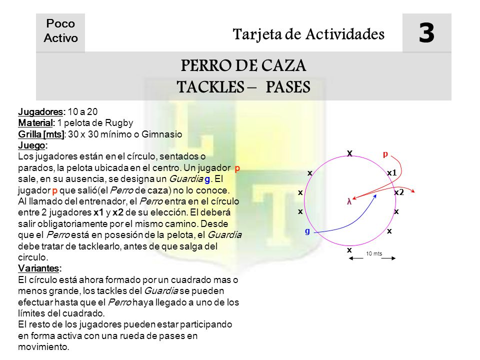 3 PERRO DE CAZA TACKLES – PASES Tarjeta de Actividades Poco Activo