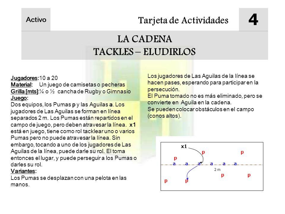 4 LA CADENA TACKLES – ELUDIRLOS Tarjeta de Actividades Activo