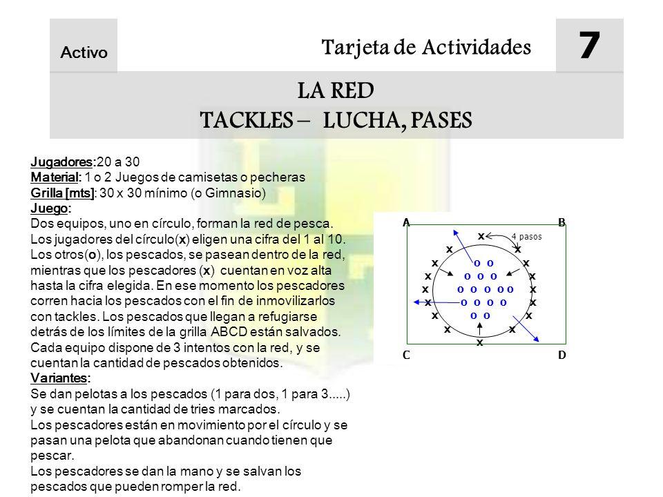 7 LA RED TACKLES – LUCHA, PASES Tarjeta de Actividades Activo