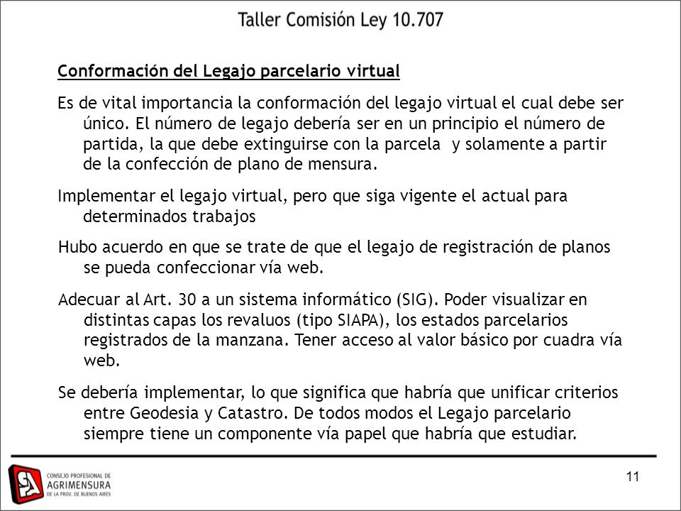 Conformación del Legajo parcelario virtual
