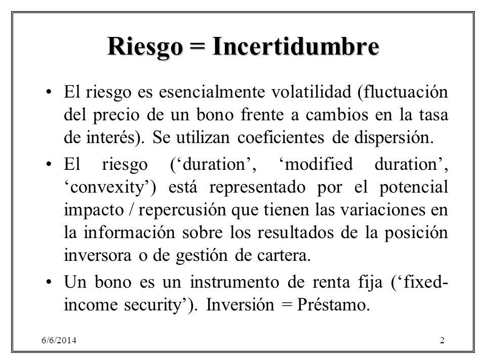 Riesgo = Incertidumbre