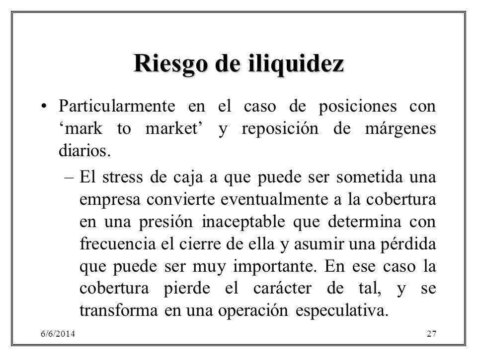 Riesgo de iliquidez Particularmente en el caso de posiciones con 'mark to market' y reposición de márgenes diarios.