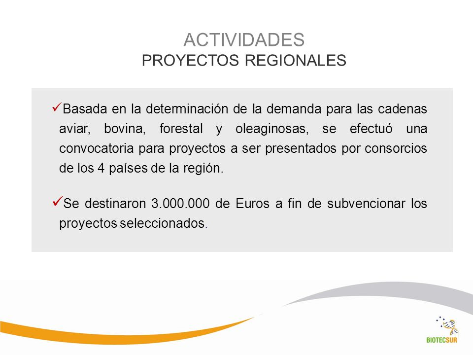 ACTIVIDADES PROYECTOS REGIONALES