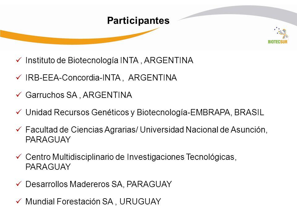 Participantes Instituto de Biotecnología INTA , ARGENTINA