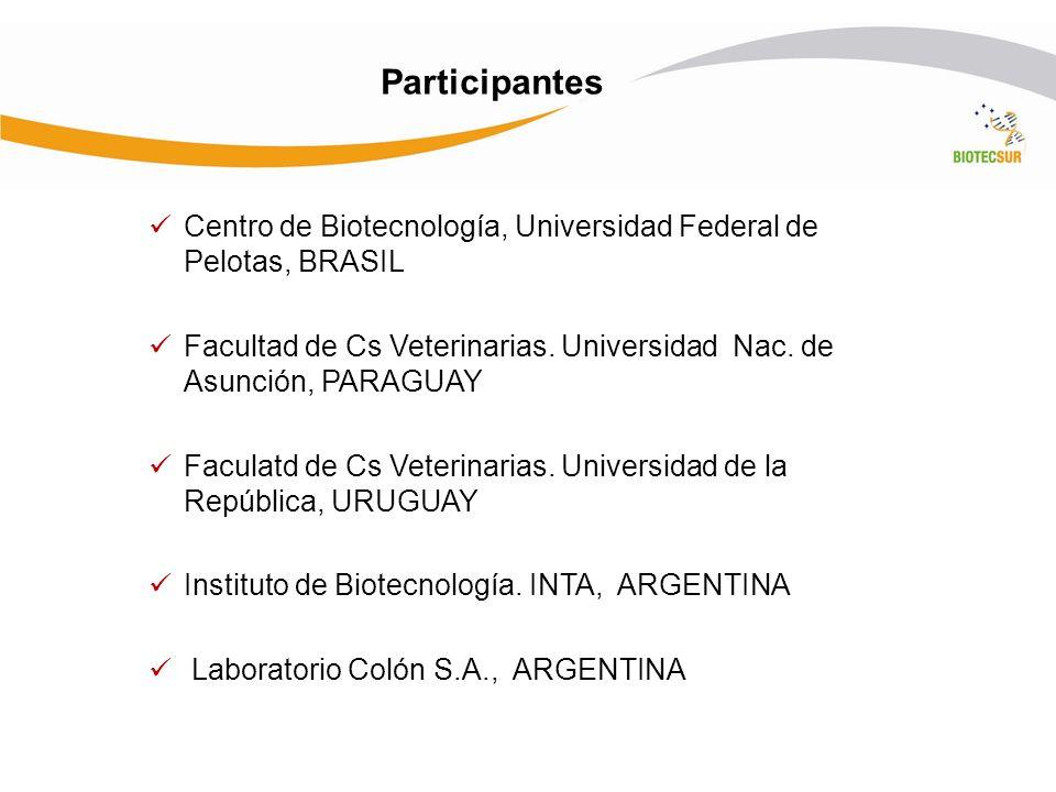 Participantes Centro de Biotecnología, Universidad Federal de Pelotas, BRASIL. Facultad de Cs Veterinarias. Universidad Nac. de Asunción, PARAGUAY.