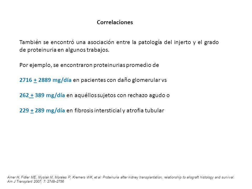 Por ejemplo, se encontraron proteinurias promedio de