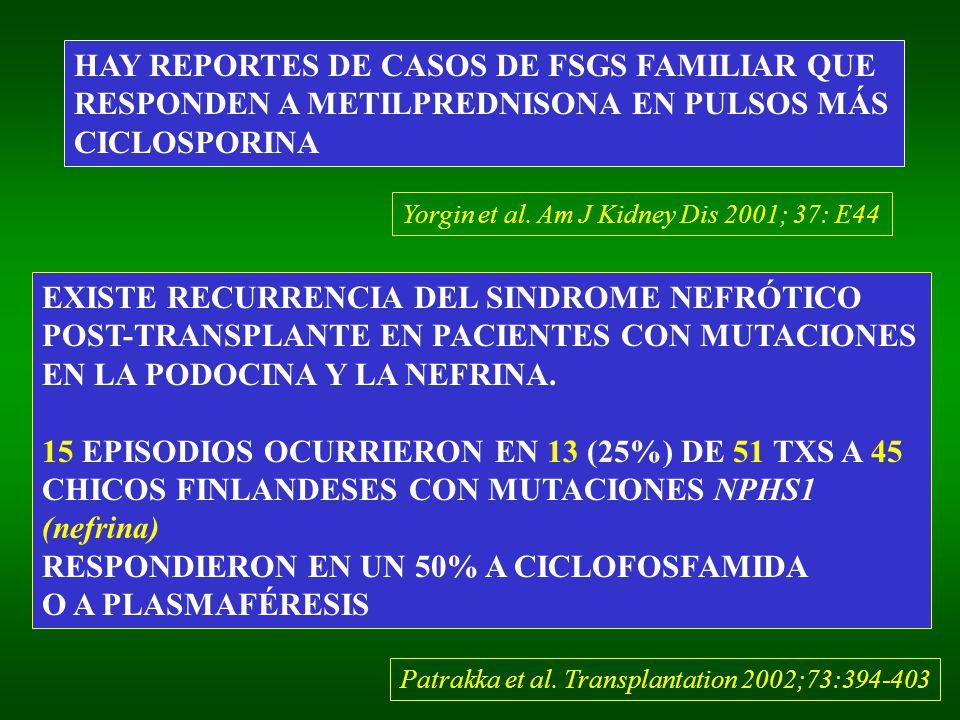 HAY REPORTES DE CASOS DE FSGS FAMILIAR QUE